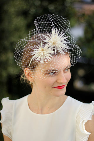 Bridal ivory feather crown, unique wedding feather headpiece
