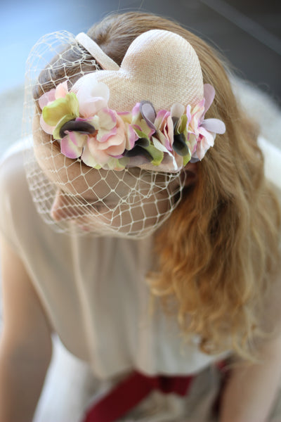 Romantic Flower Wedding Heart Headpiece, Bridal Fascinator with Veil