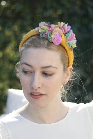 Yellow Flower Headband, Bridal Headpiece , Noël Wedding Hat