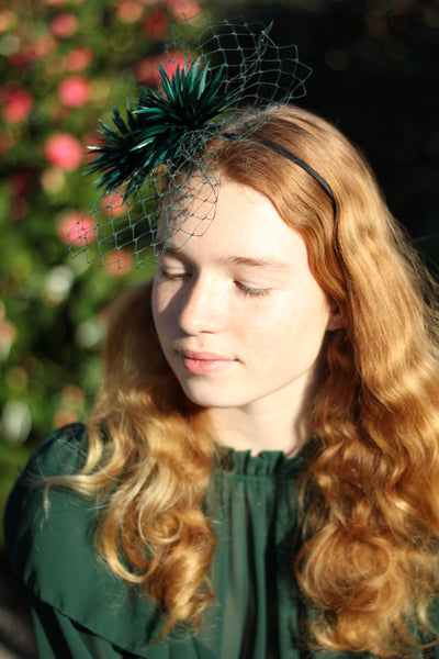 Green Feather Crown, Unique feather pom pom fascinator