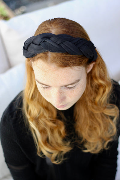 Black Woven Silk Headband, Women's Silk Fashion Headbands, Braided Headband