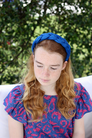 Royal Blue Woven Silk Headband, Women's Silk Fashion Headbands, Braid Headband