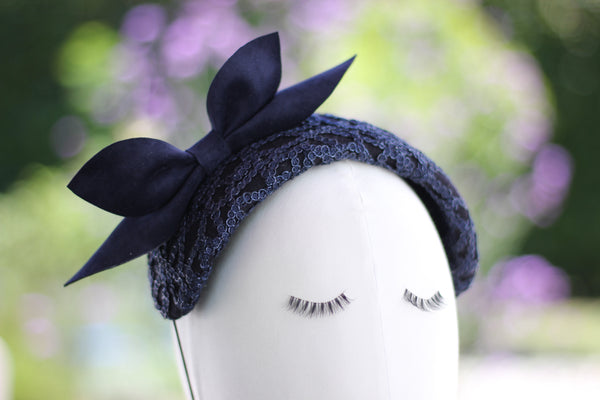 Navy Blue Felt Lace Headband with Leather Bow, Blue Sparkling Headpiece