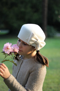 Ivory Girls Fashion Hat with Bow, Handmade Custom hats