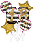 Pink & Gold 18th Birthday Balloon Bouquet 5pc