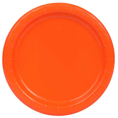 "Pumpkin Orange Solid Round 7"" Dessert Plates 8ct (Small Plate)"