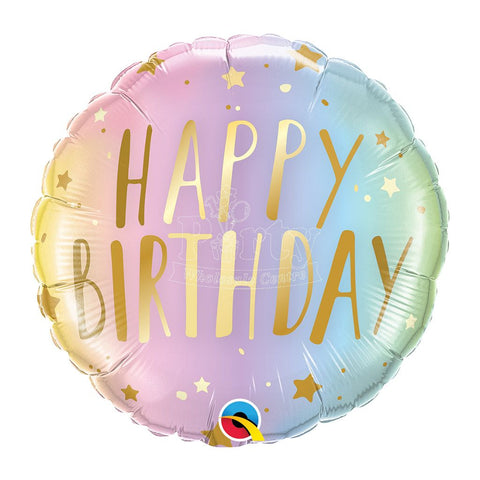 Happy Birthday Pastel Ombre Foil Balloon Qualatex 18inch