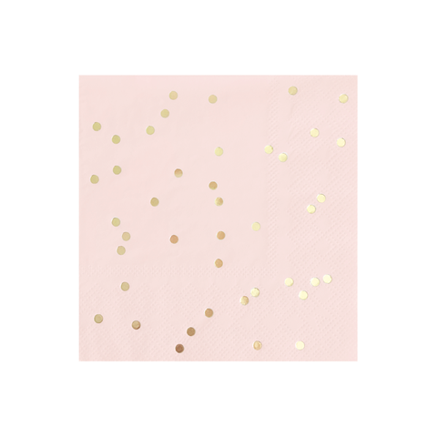 Pink and Gold Dotted Napkins