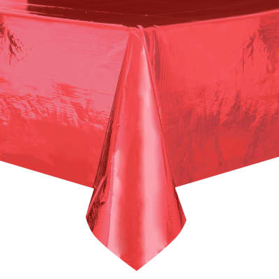 "Red Foil Rectangular Plastic Table Cover 54""x108"""
