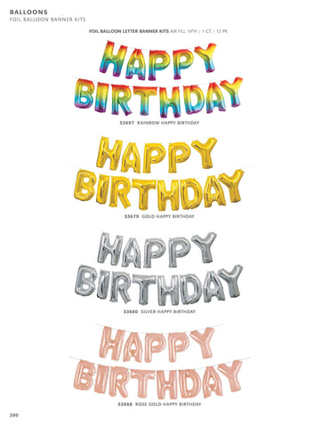 Happy Birthday Foil Balloon Banners/ garland