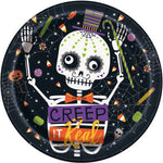 "Skeleton Trick or Treat Round 9"" Dinner Plates 8ct"