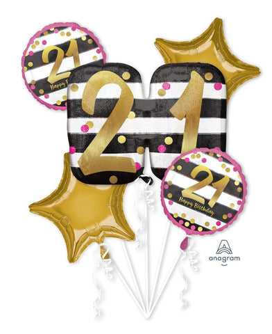Pink & Gold Pink & Gold 21st. Birthday Balloon Bouquet 5pc
