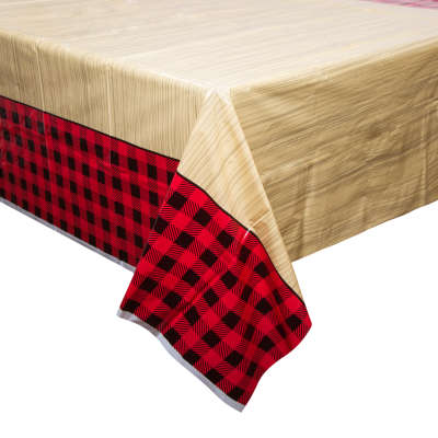 "Lumberjack Plaid Rectangular Plastic Table Cover 54""x84"""