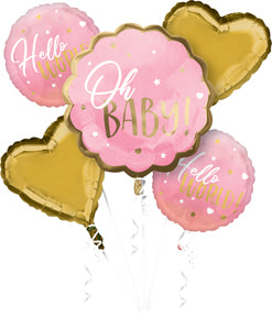 Pink Oh Baby Baby Shower Balloon Bouquet 5pc