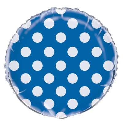 Blue Polka Dot Mylar Balloon