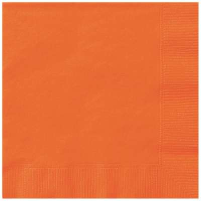Pumpkin Orange Solid Beverage Napkins 20ct