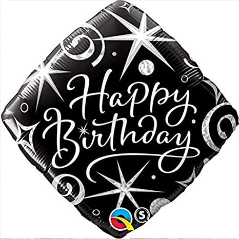 Black & Silver Elegant Sparkles & Swirls Happy Birthday 18 Foil Balloon by Qualatex