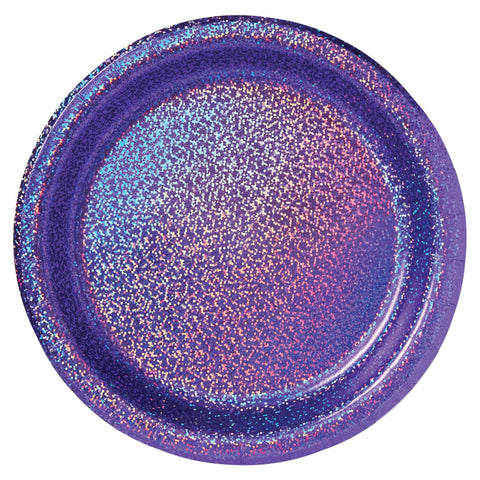 Purple Holographic Lunch Plates