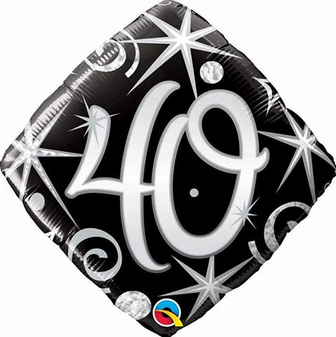 Sparkles & Swirls Diamond Shaped Age 40 Foil Balloon