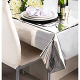 "Silver Foil Rectangular Plastic Table Cover 54""x108"""