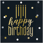 Metallic Happy Birthday Lunch Napkins, 7in, 16ct