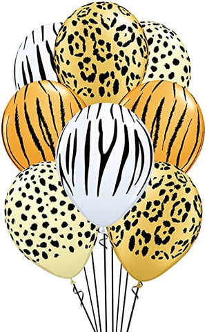 Lion Tiger Cheetah Zebra Balloons 6ct, 12in