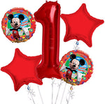 Mickey Mouse Balloon Red Number Option Bouquet 5pc.