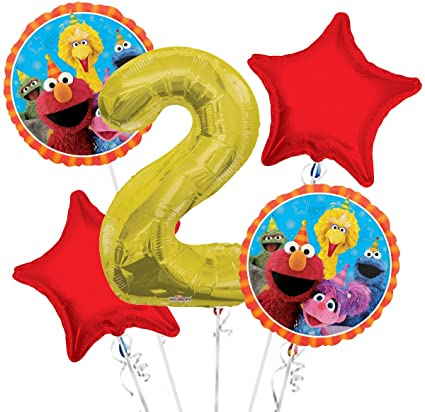 Elmo Birthday Balloon Bouquet W/ Number