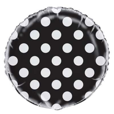 Black Polka Dot Mylar Balloon