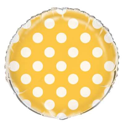 Yellow Polka Dot Mylar Balloon