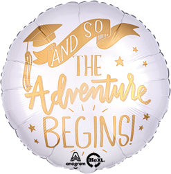 Adventure Begins White & Gold Graduation Balloon