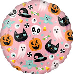 Pink Halloween 18' Mylar Balloon