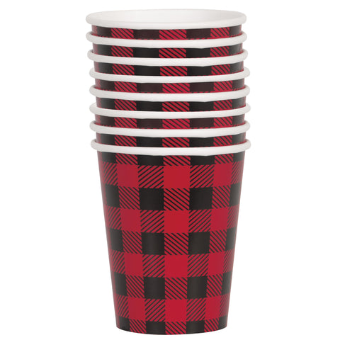 9oz Paper Buffalo Plaid Lumberjack Cups, 8ct