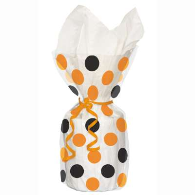 Orange & Black Dots Cellophane Bags 20ct