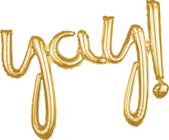 Air-Filled Gold Yay Cursive Letter Balloon Banner, 25in