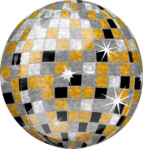 Orbz Gold Silver Black New Year Disco Ball Balloon