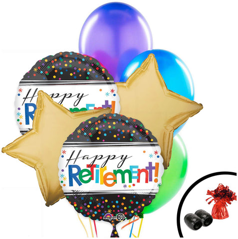 Retirement Colorful Latex  Bouquet W/ Weight 7pc.