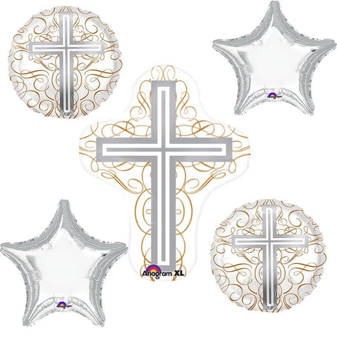 Elegant Jesus Cross Balloon Bouquet Set 5pc
