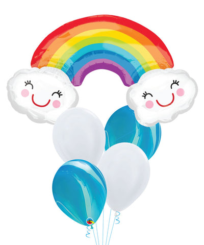 Rainbow with Smiley Clouds Marble Balloons Bouquet
