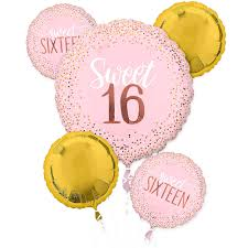 Metallic Gold & Pink Sweet 16 Balloon Bouquet 5pc