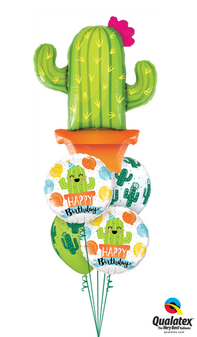 Western Cactus Balloon Flower Bouquet 5pc