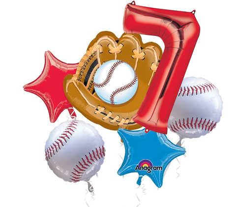 MLB Balloon Bouquet 6pc - Baseball