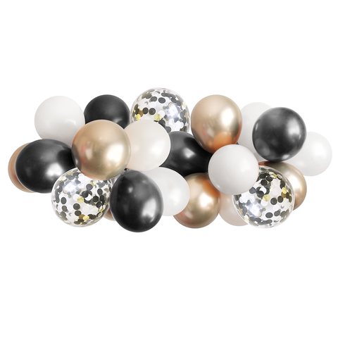 Balloon Garland - Black, White, and Gold - 5ft