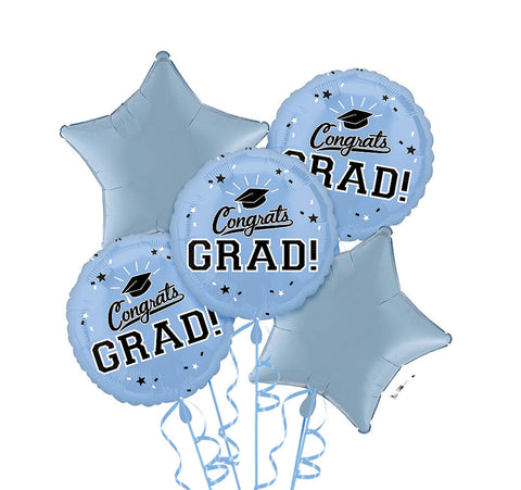 Congrats Grad Carolina Blue Bouquet 5pc