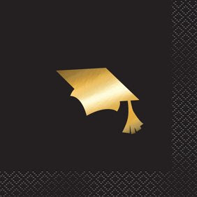 Foil Cap Graduation Paper Cocktail Napkins, 5 in, Black & Gold, 16ct