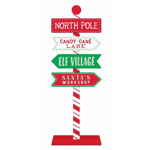 Red Christmas North Pole Directional Standing Sign