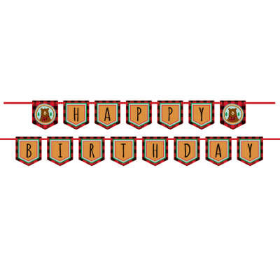 Plaid Lumberjack Happy Birthday Pennant Banner