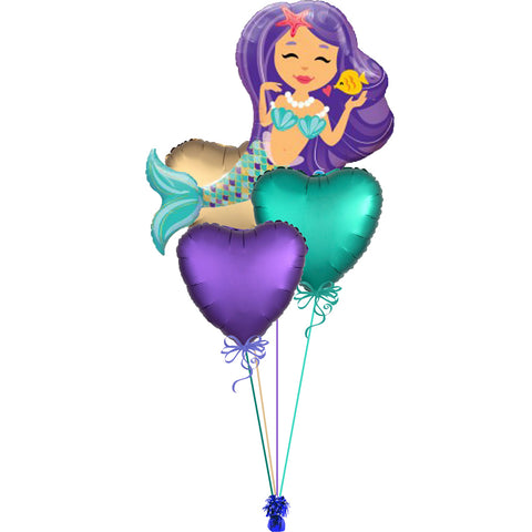 Little Mermaid Mylar Balloon Bouquet 4pc.
