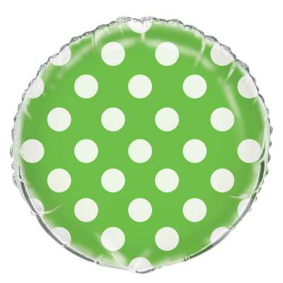 Lime Green Polka Dot Mylar Balloon