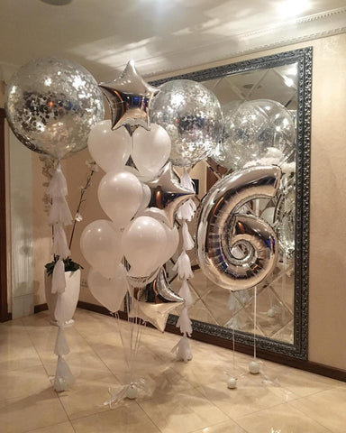 Silver Confetti Balloon Bouquet, Party Balloons Bouquet
